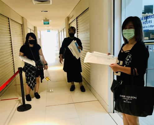 Hairdressers collected their Face Shields donated by Temasek Foundation